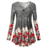 BingYELH Womens Floral Print Blouse Tops Casual Loose Swing Flare Tunic Dress Shirts