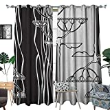 Warm Family Black and White Window Curtain Drape Abstract Fennel Plants with Seeds Monochrome Garden Condiment Ornament Decorative Curtains for Living Room W108 x L96 Black White