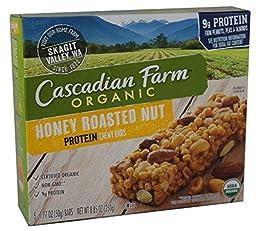 Cascadian Farm Protein Honey Roasted Nut Bars, 8.85oz Box (Pack of 4)