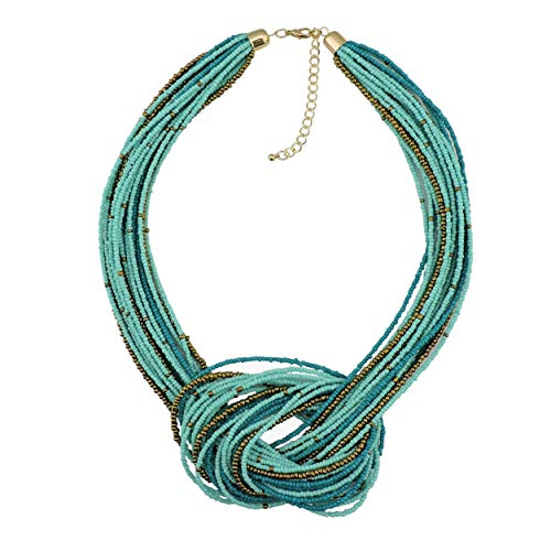Bocar Blue Green Seed Beads Multilayer Chunky Bib Statement Knot Necklace ()
