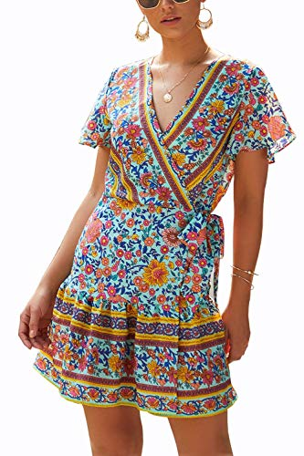 Shmily Girl Women's Dresses Summer Wrap V Neck Bohemian Floral Print Ruffle Swing A Line Beach Mini Dress (S, Green Print)