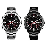 TYF Men Business Wrist Watch Stainless Steel Round Analog and Digital Watches 30M Waterproof Sports Watch