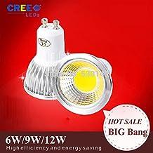 Super Bright GU10 GU5.3 E27 E14 B22 6W 9W 12W MR16 LED Bulbs Light 110V 220V Dimmable Led Spot lights GU 10 LED cob lamp bulbs(Cole White/9w)