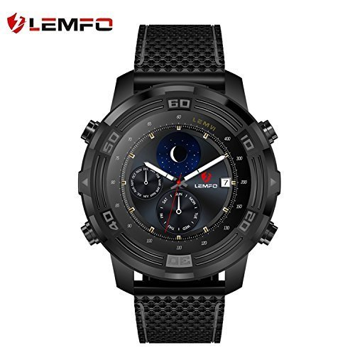 LEMFO LEM6 Smart Watch, Lemfo LEM 6 Compass Waterproof Android 5.1 3G Smartwatch Phone MTK6580AX with Heart Rate Monitor WIFI GPS Tracker IP67 550mAh Battery for Men Smart Band Black