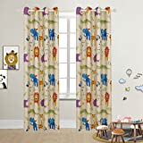 BGment Room Curtains Cartoon Printed Eyelet Thermal Insulated darkening for Bedroom, Nursery,Children's room,46' Width x 90' Length(117x228cm), 2 Panels(2x W46 X L90,Zoo)