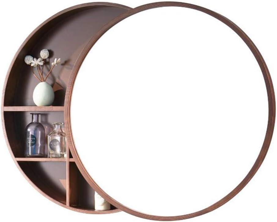 Hgxc Round Mirror Bathroom Mirror Cabinet Sliding Locker Walnut Wood Wall Mounted Mirror 50 50cm Mirror Amazon Co Uk Kitchen Home