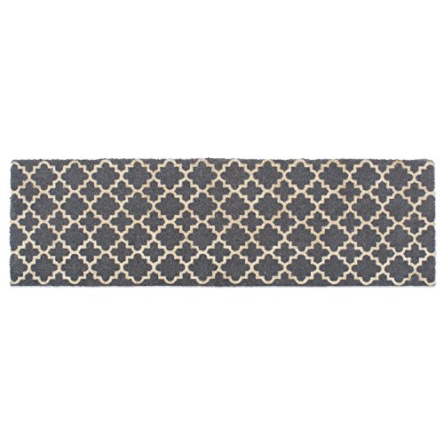 DII Double Gray Lattice Doormat, 18x60