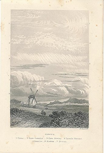 Scarce Type (Cloud types with windmill setting 1855 scarce antique steel engraved view print)