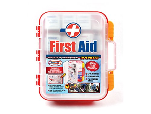 Rapid Care First Aid RC-BLMD-354 354Piece OSHA Multi Compartment Wall Mountable First Aid Kit with Easy Access Tilt Trays,