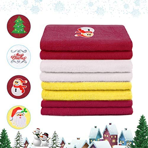 newoer Christmas Towel Dish Towels Oversized Print Kitchen Towels 100% Cotton Super Absorbent Bar Towels Cleaning Towels for Christmas Fireside Family Dinners -1324 Inches (4PCS)