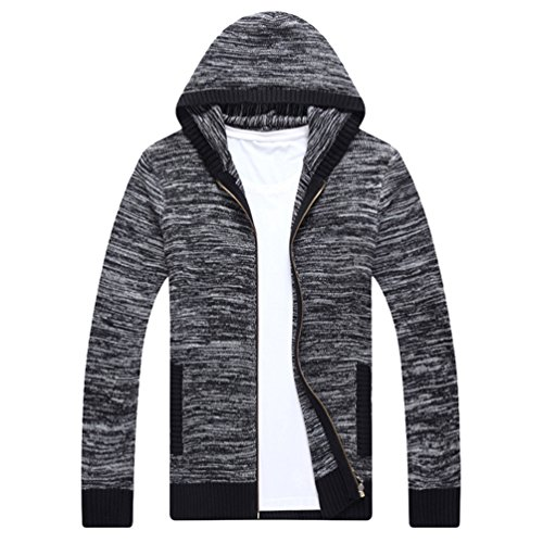 Casual Winter Jacket Jumper Mens Coat Cardigan Warm Outwear Sweater Gray CHENGYANG Hooded qEp8wx4