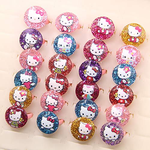 Cute Cartoon Girl Mixed Resin Cat Hello Kitty Rings | for Birthday Gifts (100pcs)