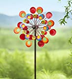 Outdoor Cosmic Multi-Colored Metal and Glass Garden Wind Spinner Sculpture 24 dia. x 10 D x 75 H