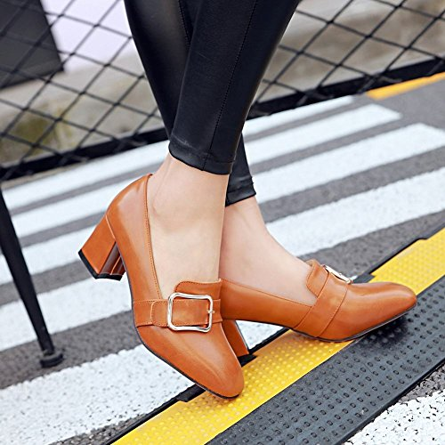 Charm Foot Womens Vintage Style Square Toe Chunky Heel Buckle Pump Shoes Yellow Q61uLrkZ