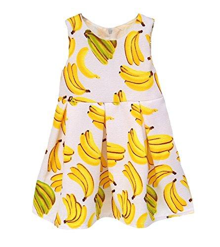 Kidscool Little Girls Sleeveless allover Banana Print Princess (Banana Clothing)