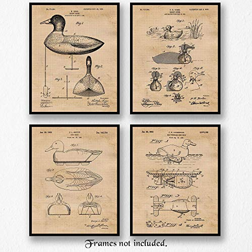 Original Duck Hunting Decoy Patent Art Poster Prints - Set of 4 (Four Photos) 8x10 Unframed - Great Wall Art Decor Gift for Home, Office, Garage, Man Cave, Hunter, Student, Game Instructor