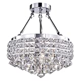 Edvivi 4-Lights Chrome Semi Flush Mount Round Crystal Beaded Drum Shade with Hanging Crystals | Glam Lighting