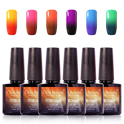 7006 Thermal (Clou Beaute Soak Off UV LED Thermal Temperature Color Changing Gel Nail Polish Set Of 6 Glitter Change 10ml)