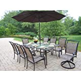 Oakland Living Cascade 9-Piece Dining Set with 72 by 42-Inch Table, 6 Stackable Chairs, 2 Swivel Rockers, 9-Feet Brown Tilting Umbrella and Stand Review