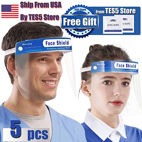Face Shield Anti-spitting Transparent Anti-Saliva Adjustable Protective Hat Women Men (Adult Face Shield (5pcs))