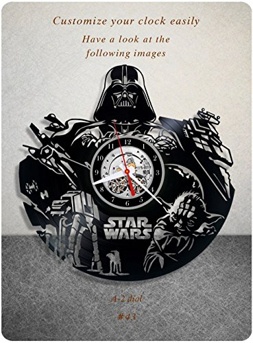 Star Wars vinyl clock, vinyl wall clock, vinyl record clock yoda leia organa luke skywalker jedi grand master home decor birthday gift 043 – a2