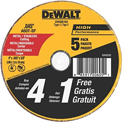 DEWALT DW8061B5 4-Inch by 0.045-Inch Metal and Stainless Cutting Wheel, 5/8-Inch Arbor