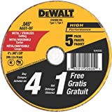 DeWalt DW8061B5 4 Inch by 0.045-Inch Metal and Stainless Cutting Wheel, 5/8-Inch Arbor, 5-Pack