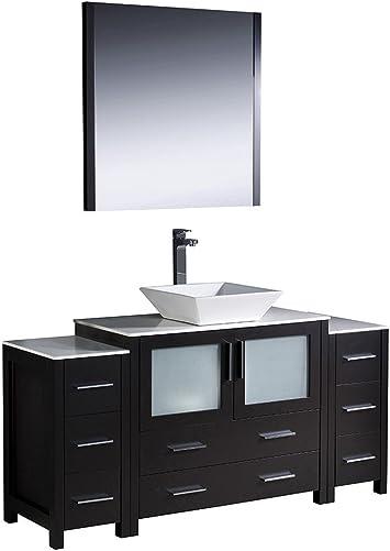 Fresca Bath FVN62-123612ES-VSL Torino 60 Vanity with 2 Side Cabinets and Sink, Espresso