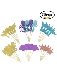 Maydolbone 29pcs Glitter Mermaid Theme Cupcake Toppers- birthday or baby shower Food Picks Decor And Cupcake Party Pick,ncluding Mermaid, Shell ,Fishtail ,Starfish ,Seahorse