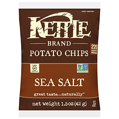 Kettle Brand Potato Chips, Sea Salt, Single-Serve 1.5 Ounce Bags (Pack of -