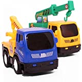 Toy4U® 1:64 Construction Toy Truck Set, Truck Crane, Tow Truck