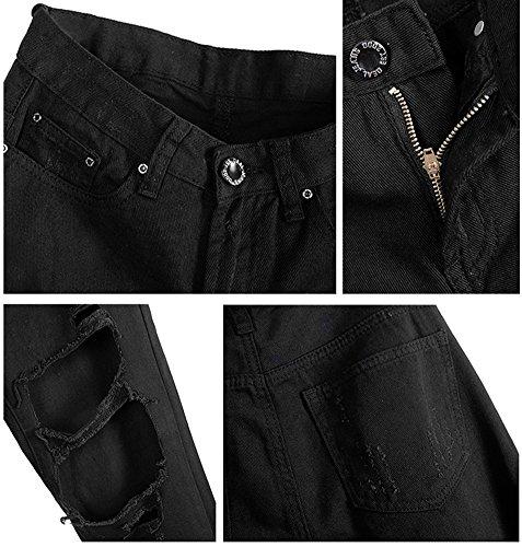 dqq MIDRISE de algodón de las mujeres Ripped envejecido tobillo Jeans negro