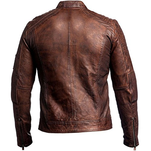 E Uomo Racer Red Distressed Smoke Brown Cafe Giacca Jacket Piumino Vinyl Leather IOcOAqCw