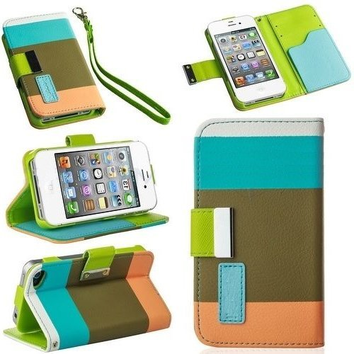 Importer520 Flip PU Leather Card Holder Wallet Case Cover Pouch For iPhone 4 4S 4G -Color(Light - Flip 4s Cover