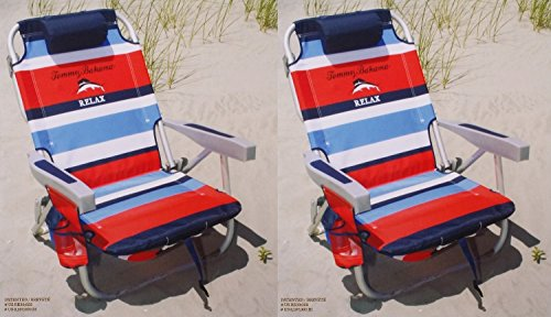 2 Tommy Bahama 2015 Backpack Cooler Chairs with Storage Pouch and Towel Bar- red/blue by Tommy Bahama (Image #1)