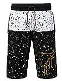 URBANCREWS Mens Hipster Hip Hop Splatter Bulls Print Shorts Pants Black Large