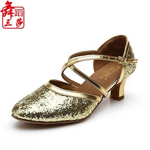 Des Mädchens Der Frauen Professional Latin Schuhe Obermaterial Satin Sandalen Salsa / Ballroom Dance Schuh Med (weitere Farben),Gold-41