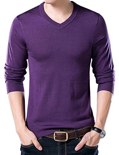 Yeokou Men's Casual Slim V Neck Winter Wool Cashmere Pullover Jumper Sweater,Purple,Medium