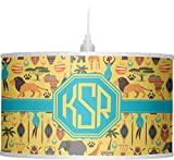 RNK Shops African Safari Drum Pendant Lamp Linen (Personalized)