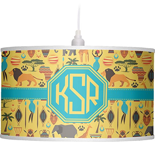 RNK Shops African Safari Drum Pendant Lamp Linen (Personalized) by RNK Shops