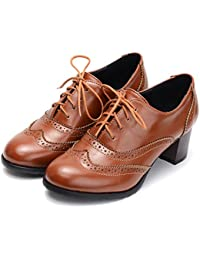 cde816c2fbdd31 Womens PU Leather Oxfords Brogue Wingtip Lace up Chunky High Heel Shoes  Dress Pumps Oxfords