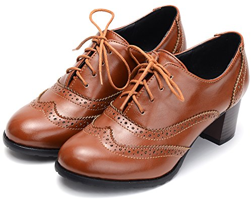 Odema Womens pu Leather Brogue Oxfords Wingtip Lace Up Dress Shoes High Heels Pumps Brown