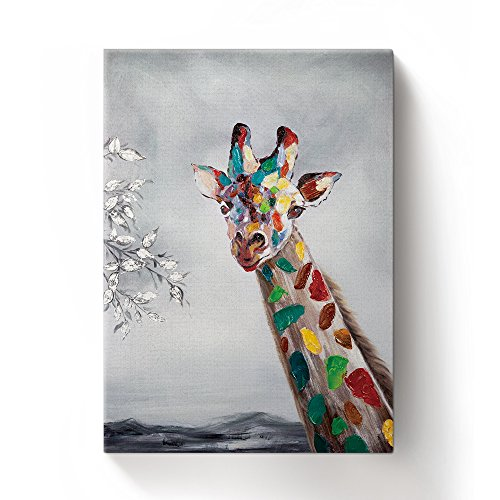 Libaoge Hand Painted Colorful Animal Cute Giraffe Oil Painting Canvas Wall Art with Wood Frame, Modern Home Wall Decoration Artwork Ready to Hang ()