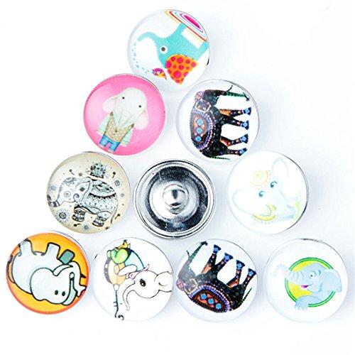 Charm Elephant Glass (ZARABE Mix Snap Button Elephant Glass Rhinestone Jewelry Charms for 18MM Random 10PC)