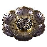 ShanBenTang Incense Holder, Multipurpose Bronze Lotus Incense Burner for Incense Sticks, Cones or Coils