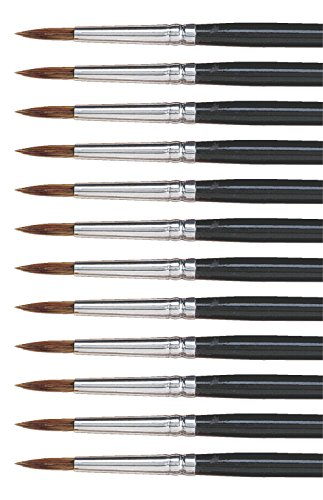 Dynasty Brush (Dynasty 5800 Round Camel Hair Short Enameled Wood Handle Watercolor Paint Brush, Size 6, 3/4 in Hair, Black, Pack of 12)