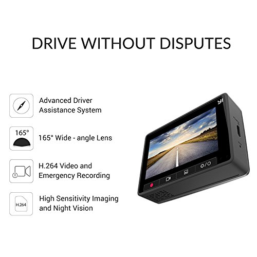 """good YI WiFi Dashcam 2.7"""" LCD ( Edition Internationale ) DVR Intelligente 1080p / 60FPS 165 ° Grand Angle - Caméra Voiture G-Sensor Vision Nocturne, 6-lentille en verre 240mAh Batterie Intégrée Gris"""