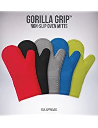 Purchase (Set of 2) The Original GORILLA GRIP Non-Slip Silicone Oven Mitt, Red- Set of Oven Mitts deliver