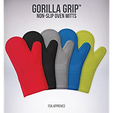 (Set of 2) The Original GORILLA GRIP Non-Slip Silicone Oven Mitt, Red- Set of Oven Mitts
