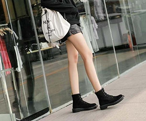 Pure Boots Locomotive Eu Round 41 Women Outdoor Boots 35 Martin Black 3cm Size Boots Toe Heel Tall Seude Court Color Shoes Chunkly Bootie xxCgqvSwZ